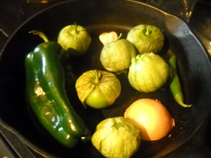 Cast iron skillet Tomatillo and poblano salsa