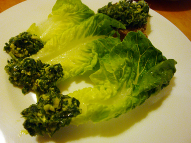 lettuce with pesto