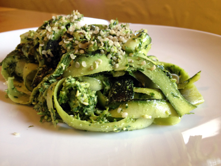 Raw zucchini noodles parsley pesto